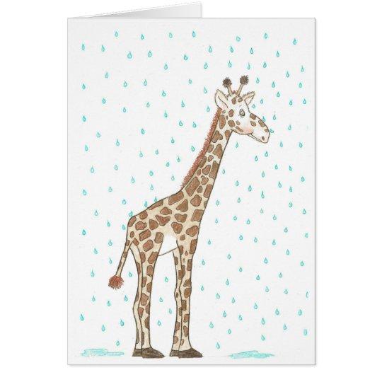 Giraffe in the Rain Card