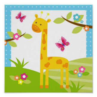 Giraffe Jungle Animal Nursery Wall Art Print