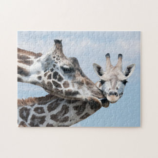 Giraffe Kisses Her Calf Jigsaw Puzzle