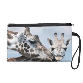 Giraffe Kisses Her Calf Wristlet