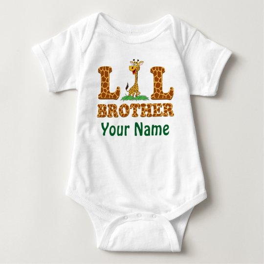 Giraffe Little Bother Personalised With Your Name Baby Bodysuit