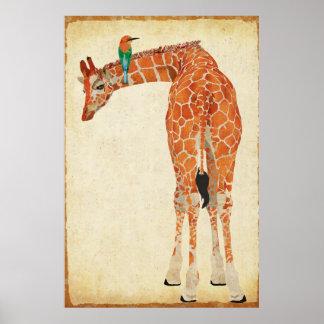 Giraffe & Little Jade Bird Art Poster
