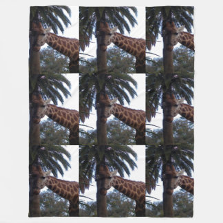 Giraffe Lookout, Large Fleece Blanket