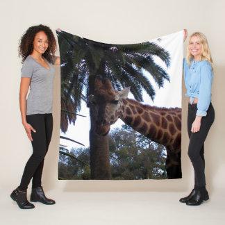 Giraffe Lookout, Medium Fleece Blanket