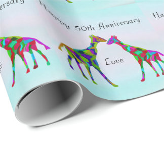 Giraffe Love 50th Anniversary Wrapping Paper