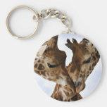giraffe love basic round button key ring