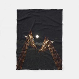 Giraffe Love In The Moonlight, Small Fleece Blanket