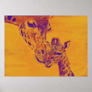 giraffe love poster