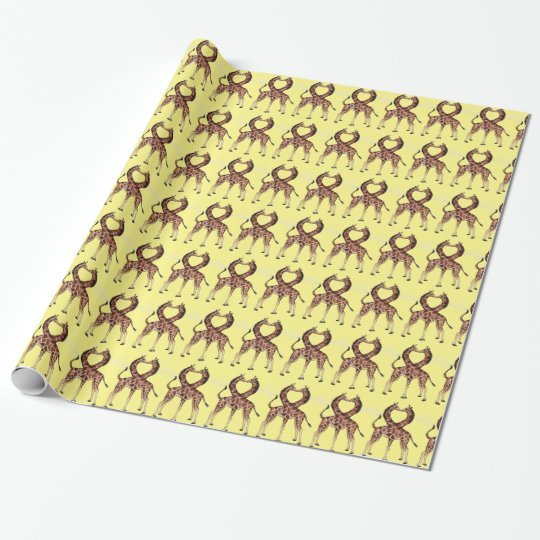Giraffe Love wrapping paper