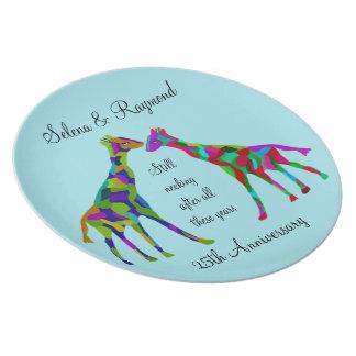 Giraffe Luv 25th Anniversary Plate