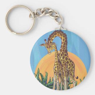 Giraffe Mama and Baby Basic Round Button Keychain