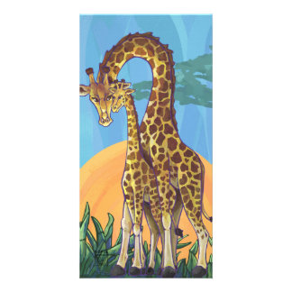 Giraffe Mama and Baby Picture Card