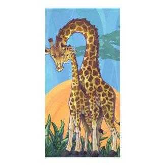 Giraffe Mama and Baby Photo Greeting Card