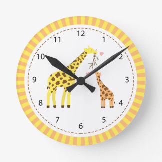 Giraffe Mommy and Baby Nursery Room Decor Round Clock