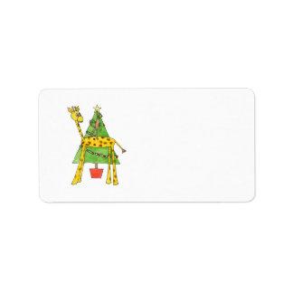 Giraffe, Monkey and Christmas Tree. Label