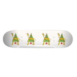 Giraffe, Monkey and Christmas Tree. Custom Skateboard