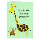 Giraffe Monkey THANK YOU FOR MY PRESENT Kids Card