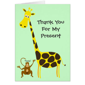 Giraffe Monkey THANK YOU FOR MY PRESENT Kids Card