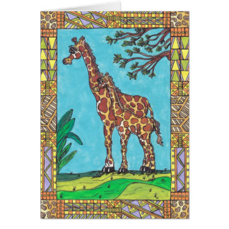 Giraffe Mum and Baby card