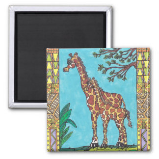 Giraffe Mum and Baby magnet