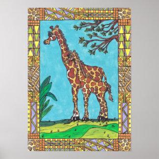 Giraffe Mum and Baby poster
