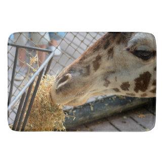 giraffe nose eating hay animal zoo image bath mats