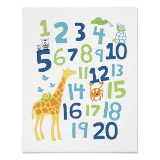 Giraffe number nursery wall art print