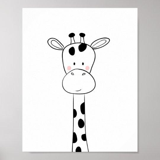 Giraffe Nursery Print Black And White Modern Zoo
