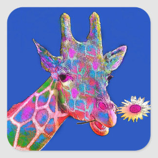 Giraffe of Many Colors with Flower Square Sticker