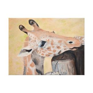 GIRAFFE Oil Painted Giraffe Print (24x18in) Canvas Print
