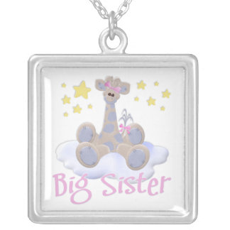 Giraffe on a Cloud Silver Plated Necklace