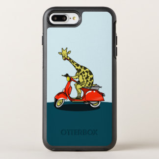 Giraffe on a red retro moped OtterBox symmetry iPhone 8 plus/7 plus case