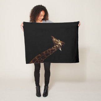 Giraffe On Black Background, Small Fleece Blanket
