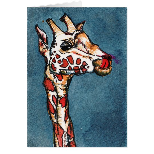 giraffe on blue card