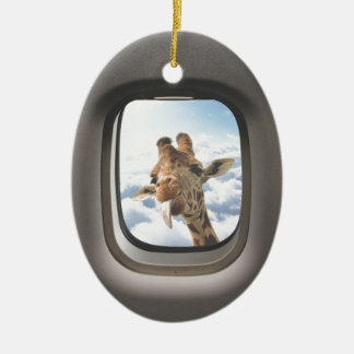 Giraffe On Board Christmas Ornament