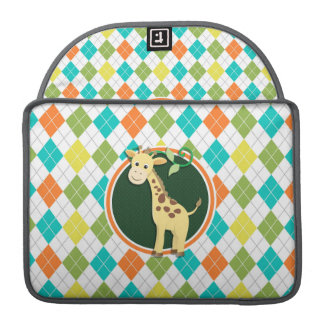 Giraffe on Colorful Argyle Pattern MacBook Pro Sleeves
