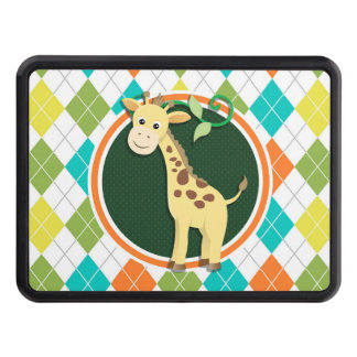 Giraffe on Colorful Argyle Pattern Hitch Cover