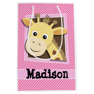 Giraffe on Pink & White Stripes Medium Gift Bag