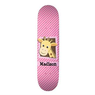 Giraffe on Pink & White Stripes Skate Decks