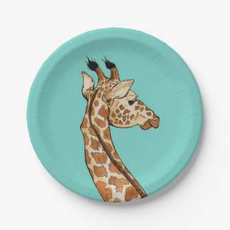 Giraffe on teal background paper plate