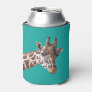 Giraffe on Teal Can Cooler
