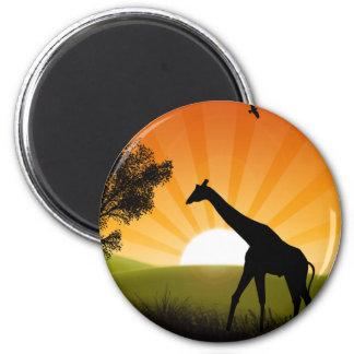 Giraffe On The Move 6 Cm Round Magnet