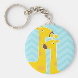 Giraffe on zigzag chevron - Aqua Blue. Keychain