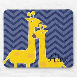 Giraffe on zigzag chevron - Blue Mouse Pad