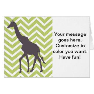 Giraffe on Zigzag Chevron - Green and White Greeting Card