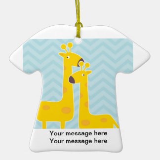 Giraffe on zigzag chevron - Pastel Blue Christmas Ornaments