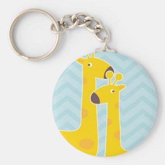 Giraffe on zigzag chevron - Pastel Blue Keychains