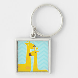 Giraffe on zigzag chevron - Pastel Blue Key Chain