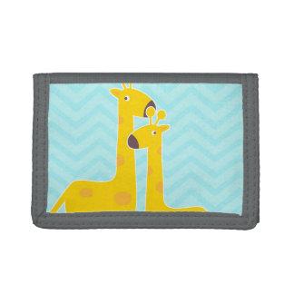 Giraffe on zigzag chevron - Pastel Blue Trifold Wallet