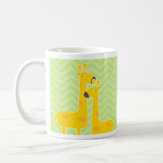 Giraffe on zigzag chevron pattern. coffee mug